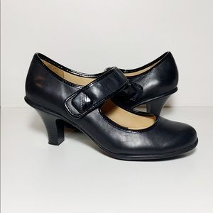 Croft & Barrow Black Leather Mary Jane Pumps Heels